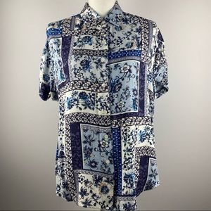 NWT Lord & Taylor Floral Short Sleeve Button Down